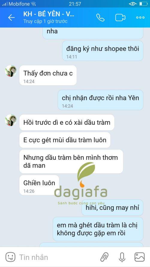 Chị Yên mua tinh dầu tràm Dagiafa dùng cho bé