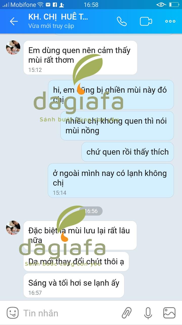 Chị Huê dùng tinh dầu tràm Dagiafa cho bé