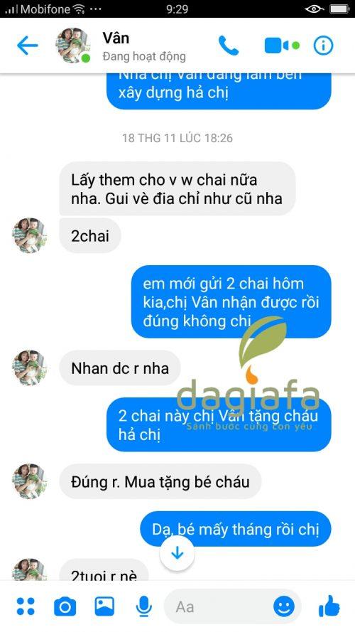Chị Vân đặt mua tinh dầu tràm Dagiafa