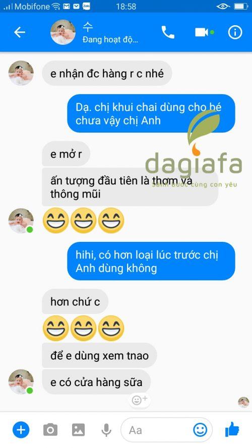 Chị Vân Anh mua tinh dầu tràm Dagiafa