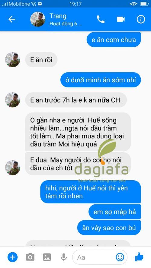 Chị Trang khen tinh dầu tràm Dagiafa mùi thơm