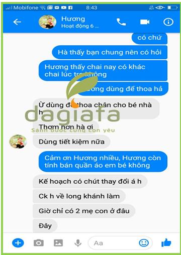 Chị Hương mua tinh dầu tràm Dagiafa