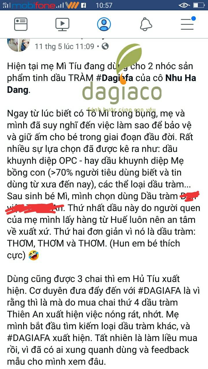 Chị Quỳnh nhận xét về tinh dầu tràm Dagiafa