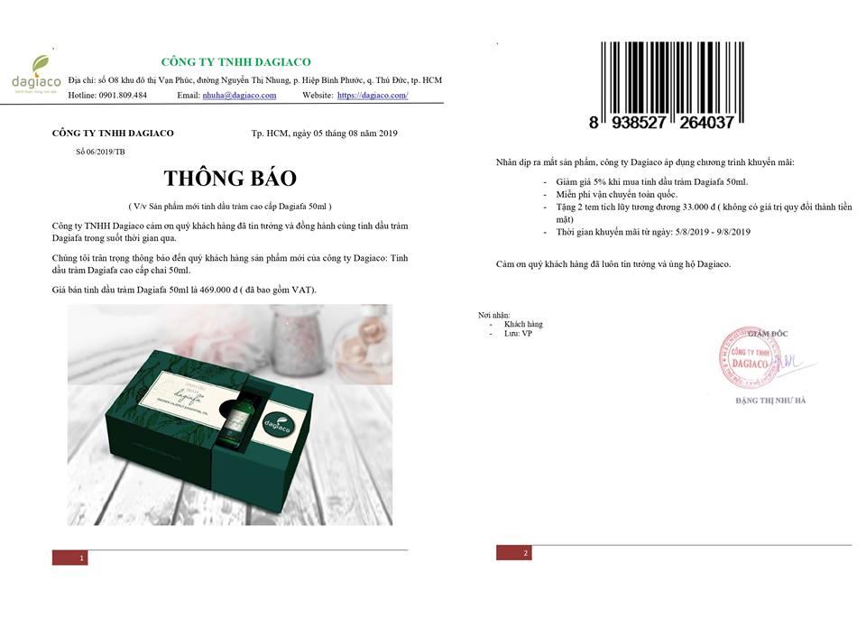 THÔNG BÁO RA MẮT SẢN PHẨM MỚI TINH DẦU TRÀM CAO CẤP DAGIAFA 50ML