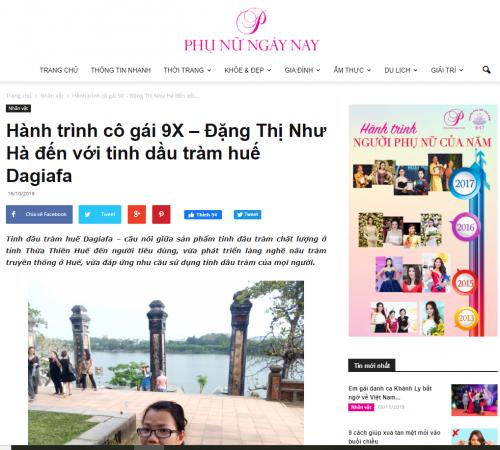 Báo Phụ Nữ Ngày Nay đưa tin về tinh dầu tràm Dagiafa
