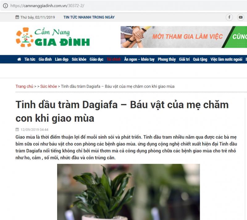 Báo cẩm nang gia đình đưa tin tinh dầu tràm Dagiafa